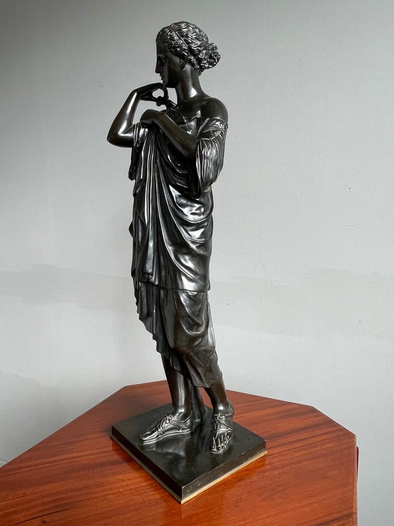 Antique Bronze Diana of Gabii Sculpture Made & Marked F. Barbedienne & L. Collas For Sale 9