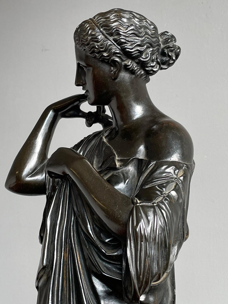 Stunning antique bronze of the goddess of hunting, of women and of the moon. She also is a great talking piece.  The original Diana of Gabii is a lifesize marble statue of a woman in drapery which probably represents the Greek goddess Artemis. The