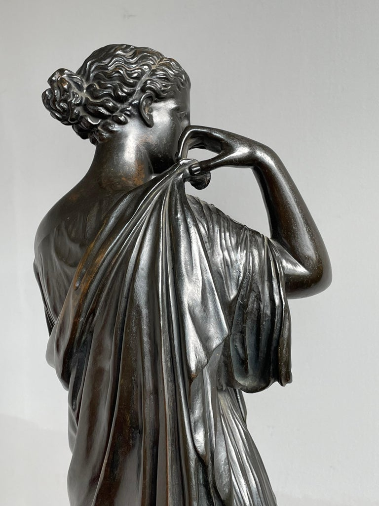 Neoclassical Antique Bronze Diana of Gabii Sculpture Made & Marked F. Barbedienne & L. Collas For Sale