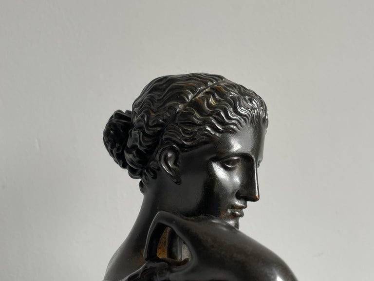 French Antique Bronze Diana of Gabii Sculpture Made & Marked F. Barbedienne & L. Collas For Sale