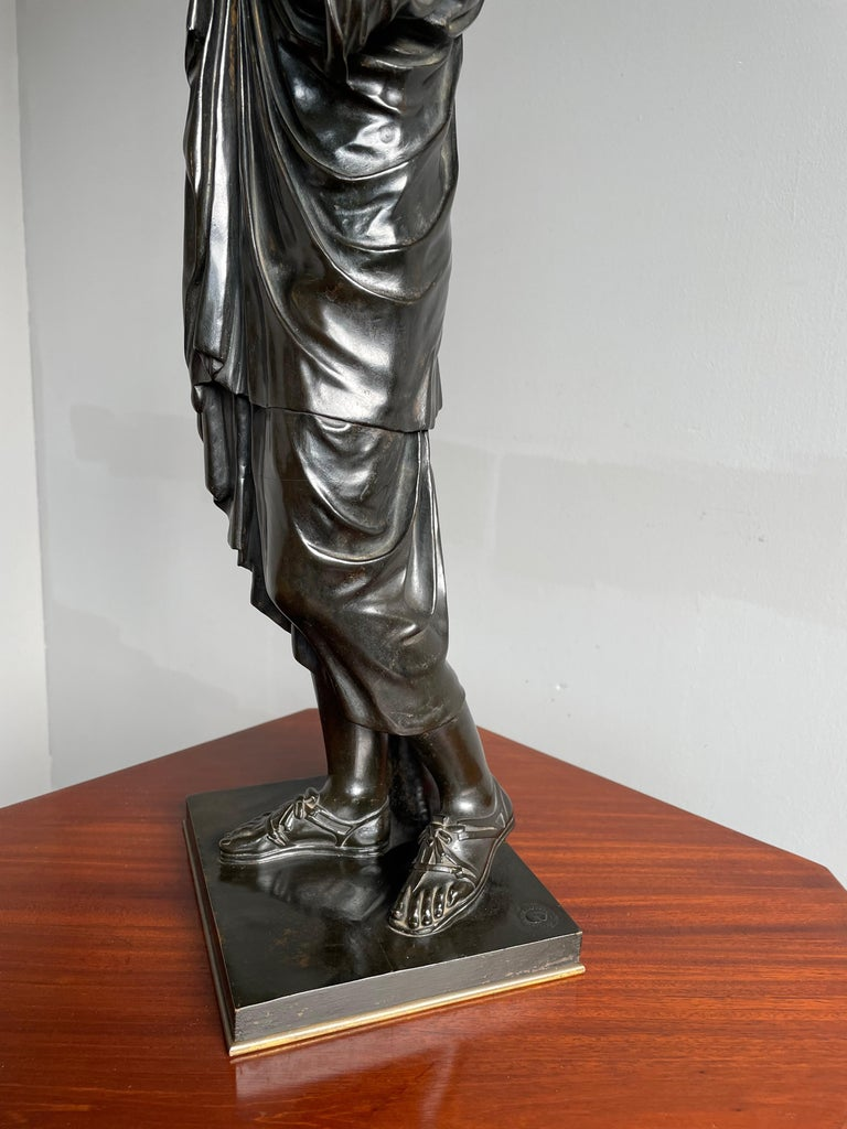 Cast Antique Bronze Diana of Gabii Sculpture Made & Marked F. Barbedienne & L. Collas For Sale
