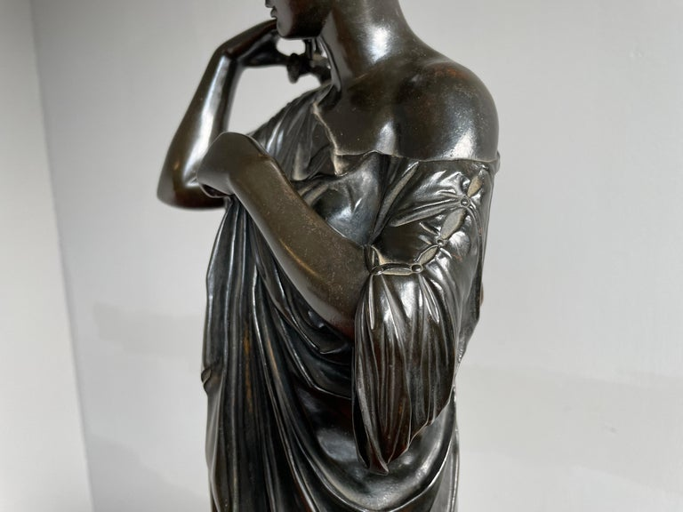 Antique Bronze Diana of Gabii Sculpture Made & Marked F. Barbedienne & L. Collas In Good Condition For Sale In Lisse, NL