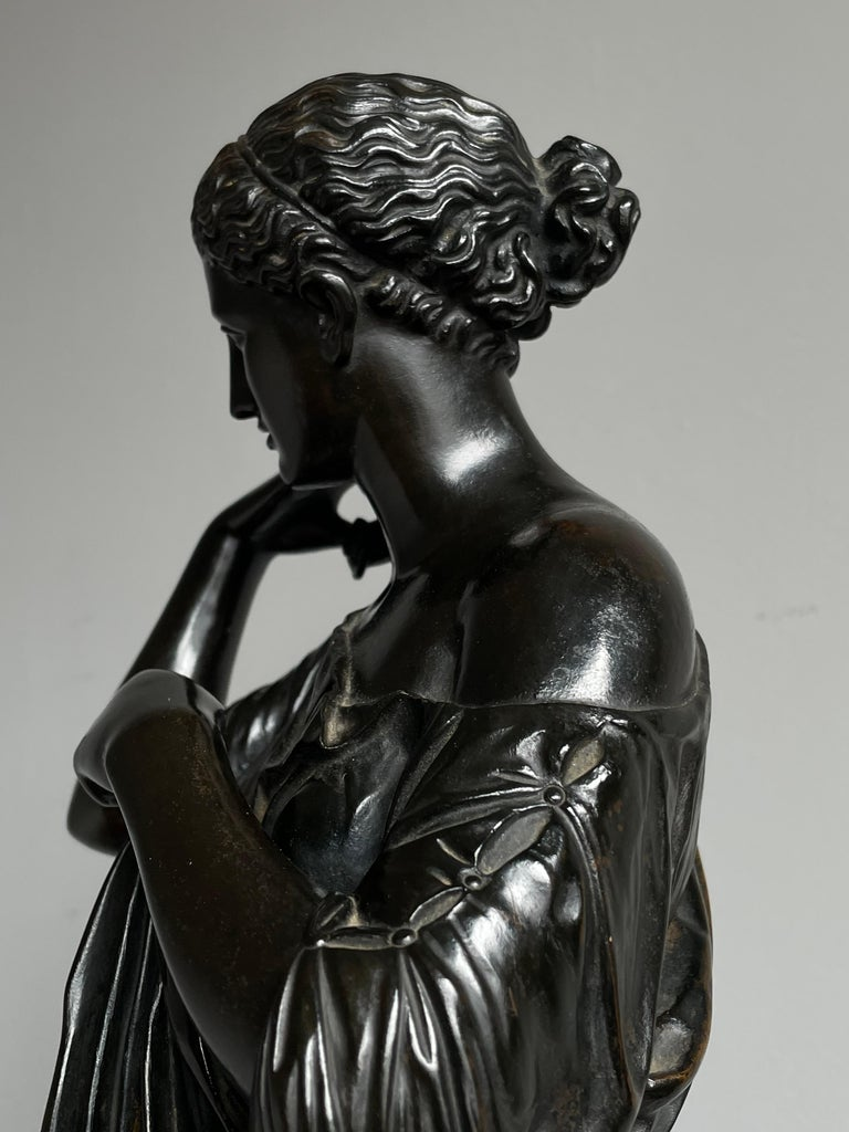 19th Century Antique Bronze Diana of Gabii Sculpture Made & Marked F. Barbedienne & L. Collas For Sale