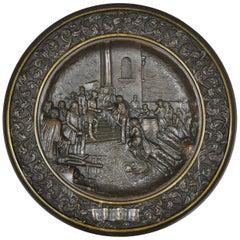 Antique Bronze Dish Plaque King Umberto Visiting Cholera Hospital Naples, 1884