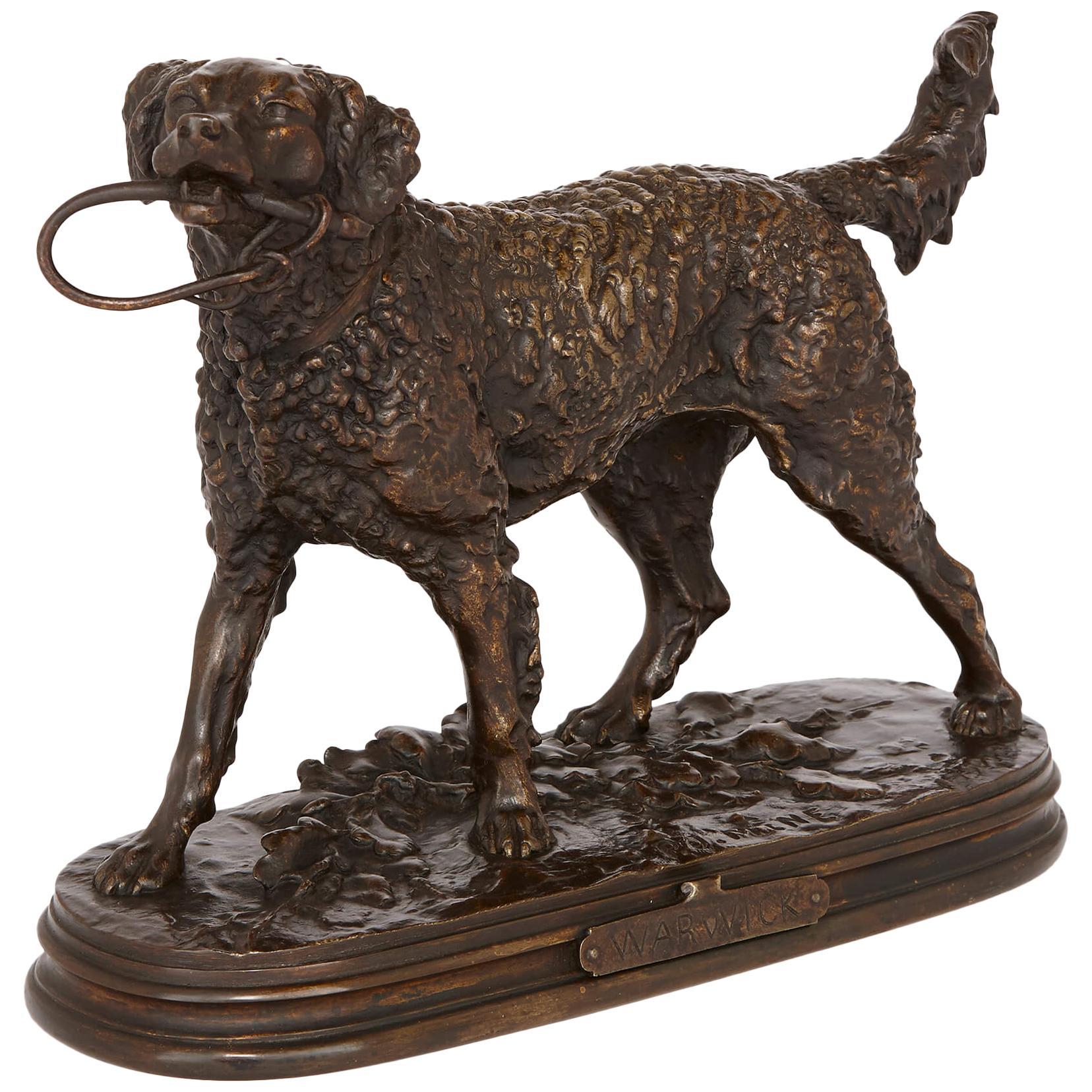 Antique Bronze Dog Figure by Pierre-Jules Mene