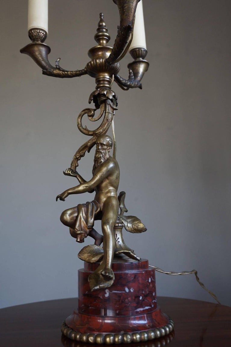 Antique Bronze Empire Style Table Lamp with a Nude Zeus Sculpture on Marble Base For Sale 6
