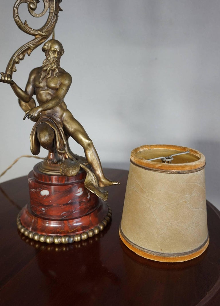 Antique Bronze Empire Style Table Lamp with a Nude Zeus Sculpture on Marble Base For Sale 9