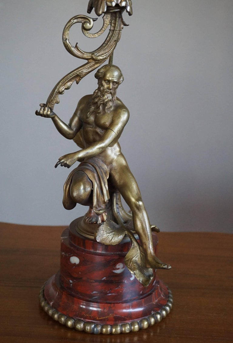 Empire Revival Antique Bronze Empire Style Table Lamp with a Nude Zeus Sculpture on Marble Base For Sale