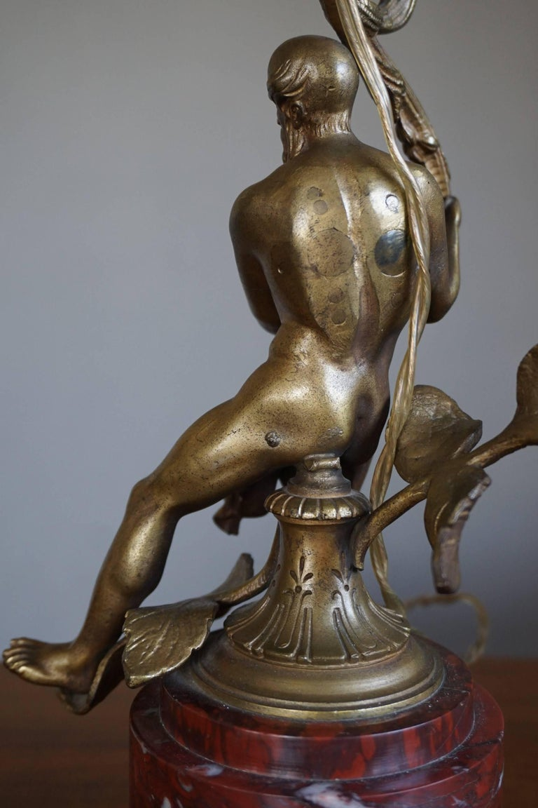 Antique Bronze Empire Style Table Lamp with a Nude Zeus Sculpture on Marble Base For Sale 2