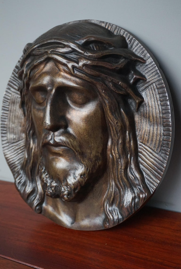 Bronze Face of Christ Wall Plaque Sculpture with The Best Ever Closed Eyes For Sale 3