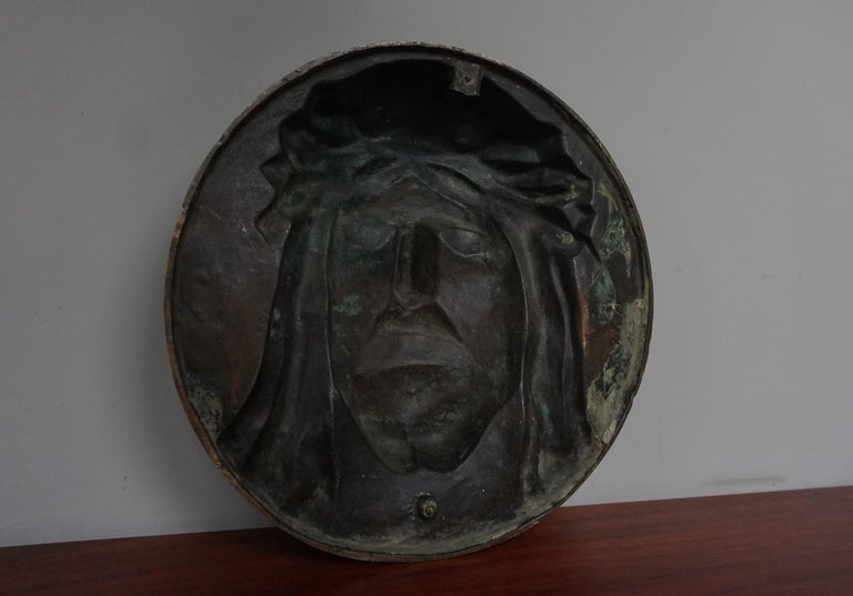 Bronze Face of Christ Wall Plaque Sculpture with The Best Ever Closed Eyes For Sale 4