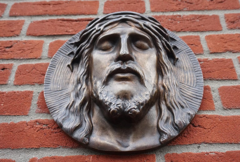 Bronze Face of Christ Wall Plaque Sculpture with The Best Ever Closed Eyes For Sale 6