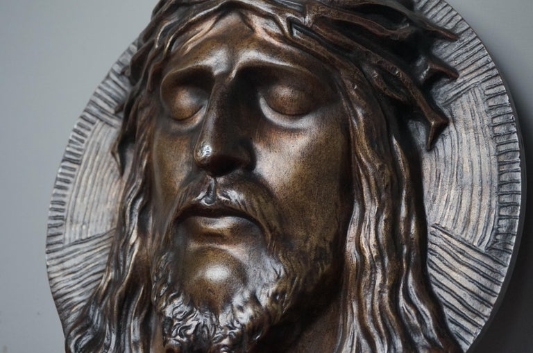 Bronze Face of Christ Wall Plaque Sculpture with The Best Ever Closed Eyes For Sale 7