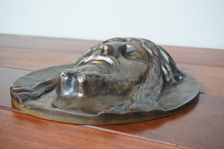 Bronze Face of Christ Wall Plaque Sculpture with The Best Ever Closed Eyes For Sale 8