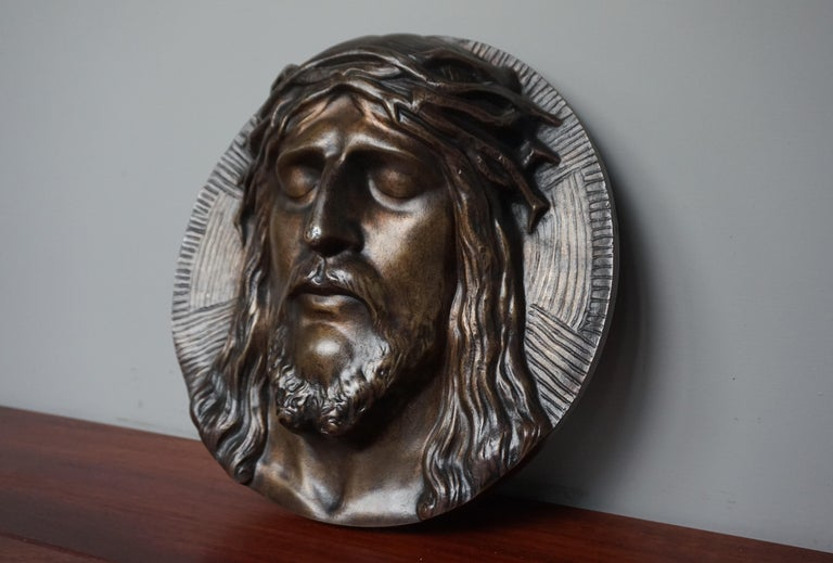 Bronze Face of Christ Wall Plaque Sculpture with The Best Ever Closed Eyes For Sale 9