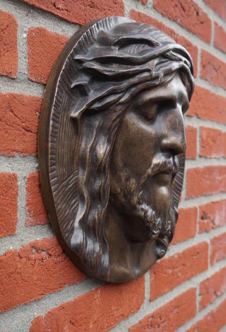 Bronze Face of Christ Wall Plaque Sculpture with The Best Ever Closed Eyes For Sale 10