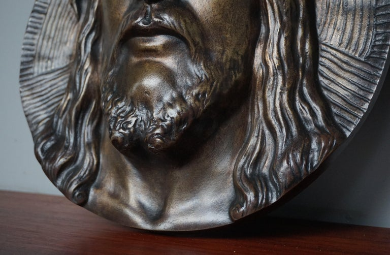 Arts and Crafts Bronze Face of Christ Wall Plaque Sculpture with The Best Ever Closed Eyes For Sale