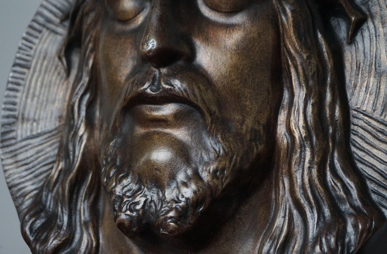 European Bronze Face of Christ Wall Plaque Sculpture with The Best Ever Closed Eyes For Sale
