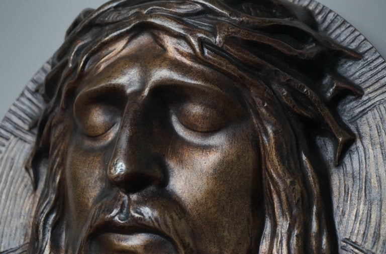 Patinated Bronze Face of Christ Wall Plaque Sculpture with The Best Ever Closed Eyes For Sale