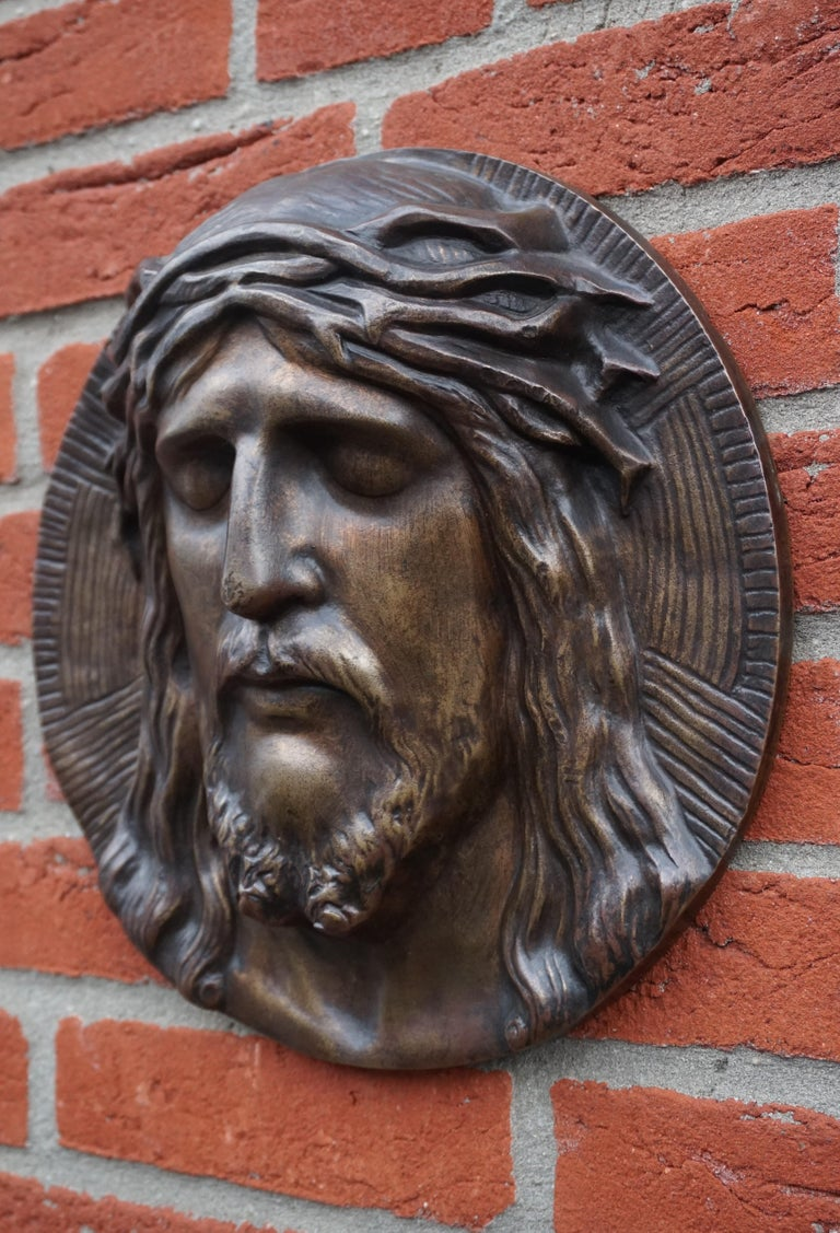 20th Century Bronze Face of Christ Wall Plaque Sculpture with The Best Ever Closed Eyes For Sale