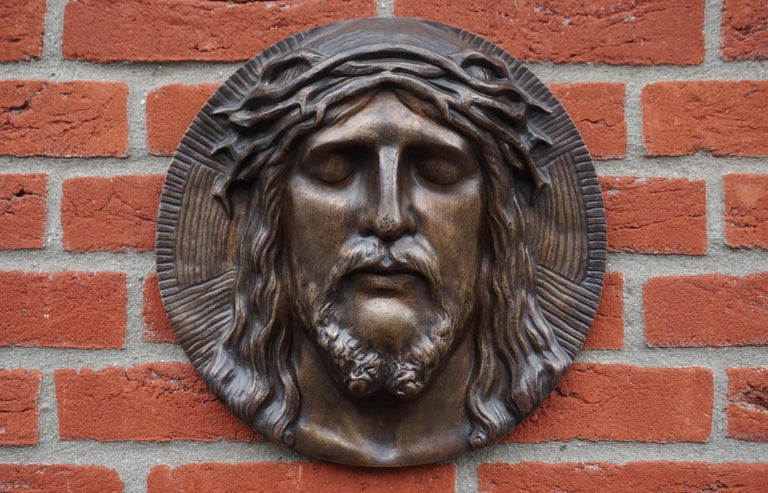 Bronze Face of Christ Wall Plaque Sculpture with The Best Ever Closed Eyes For Sale 1