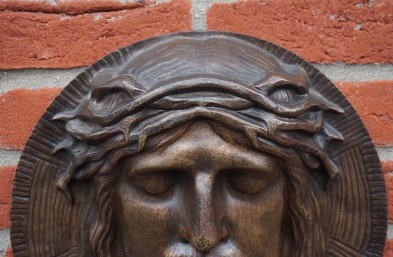 Bronze Face of Christ Wall Plaque Sculpture with The Best Ever Closed Eyes For Sale 2