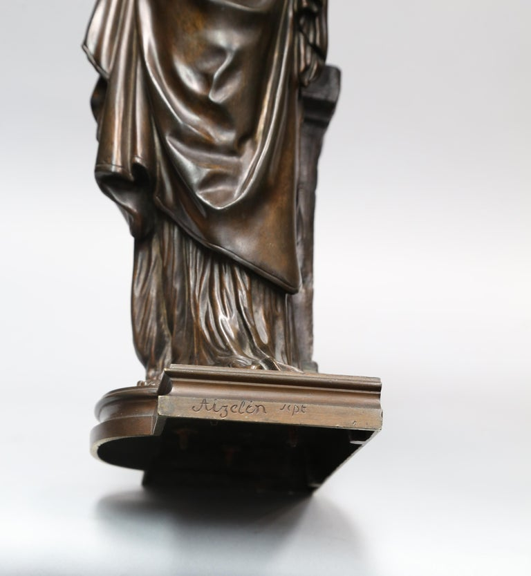 Cast Antique Bronze Female Sculpture by Eugene Antoine Aizelin, 19th Century, France For Sale
