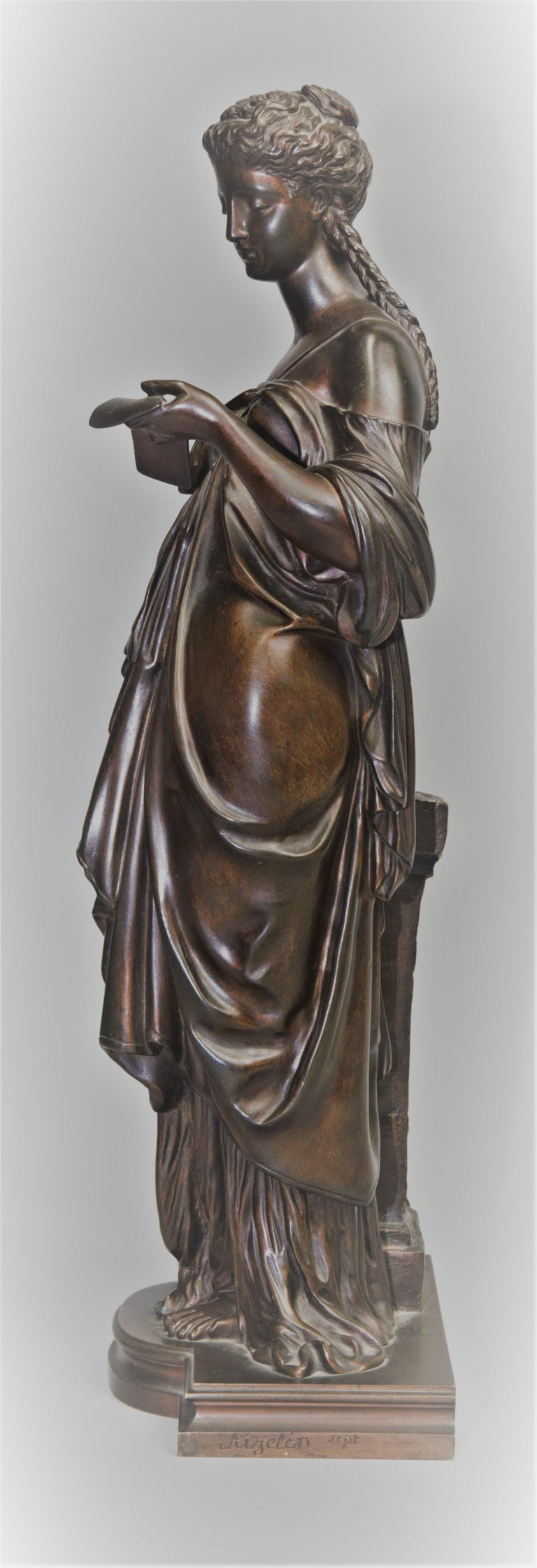 Antique Bronze Female Sculpture by Eugene Antoine Aizelin, 19th Century, France For Sale 2