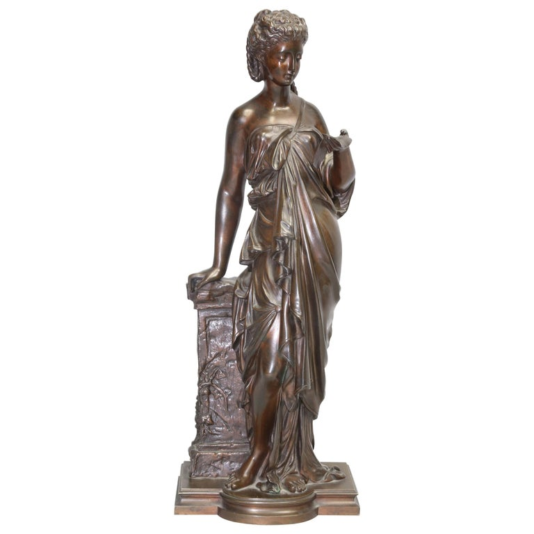 Antique Bronze Female Sculpture by Eugene Antoine Aizelin, 19th Century, France For Sale