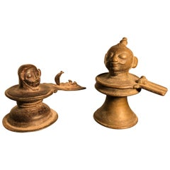 Antique Bronze Fertility Votive Lingam & Oni Sculpture, Pair, Mumbai