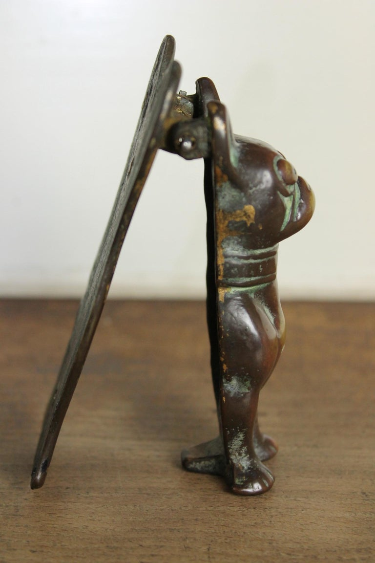 Antique Bronze Figural Door Knocker French Bulldog, Frenchie For Sale 5