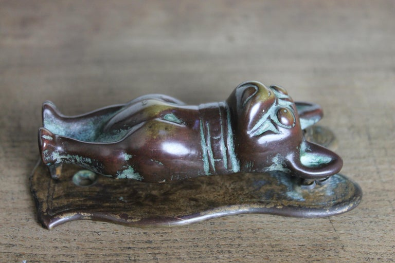 Antique Bronze Figural Door Knocker French Bulldog, Frenchie For Sale 6