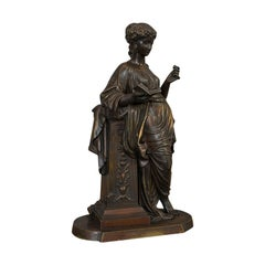 Antique Bronze Figure, French, Female, Art Nouveau, After Moreau, circa 1920