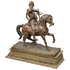 Antique Bronze Figure of a Knight on a Horse