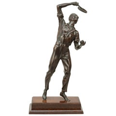 Antique Bronze Figure of a Tennis Player