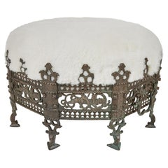 Antique Bronze Footed 'Crown' Stool