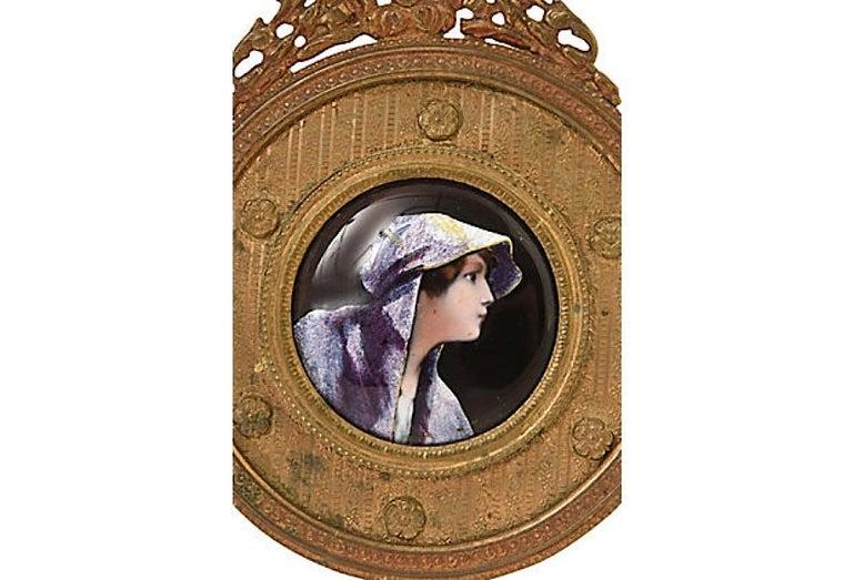 19th Century Antique Bronze Framed Enamel Portrait of Woman Girl For Sale