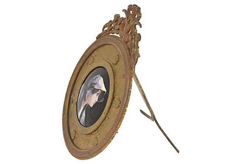 Antique Bronze Framed Enamel Portrait of Woman Girl For Sale 2