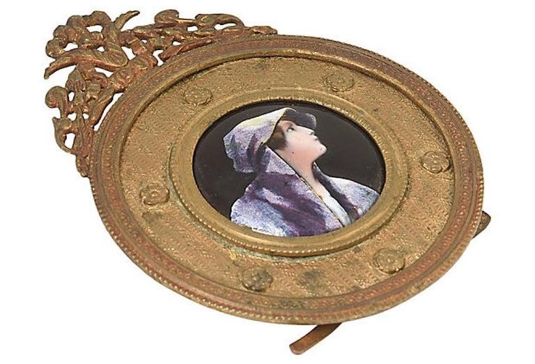 Antique Bronze Framed Enamel Portrait of Woman Girl For Sale 5