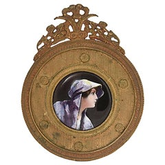 Antique Bronze Framed Enamel Portrait of Woman Girl
