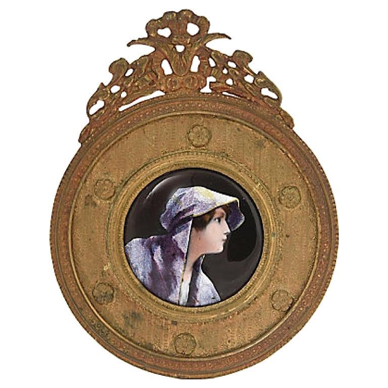 Antique Bronze Framed Enamel Portrait of Woman Girl For Sale