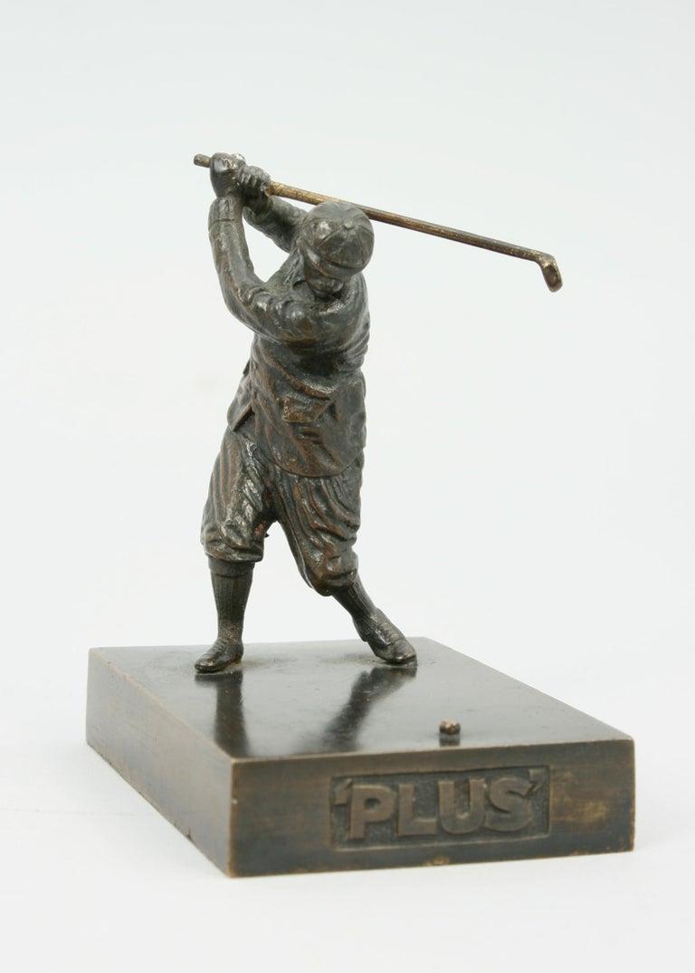 Sporting Art Antique Bronze Golf Figure For Sale