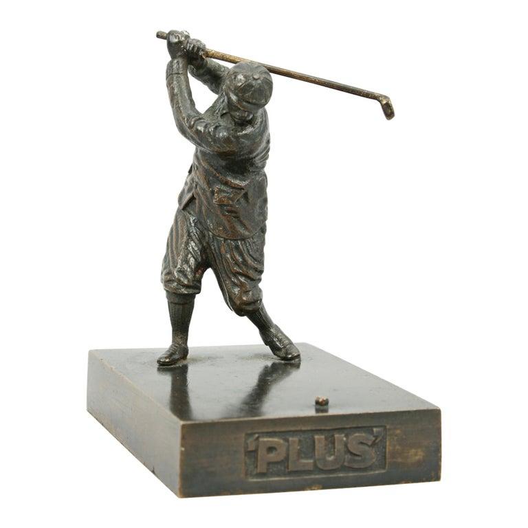 English Antique Bronze Golf Figure For Sale