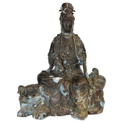 Antique Bronze Guan Yin Buddha Statue on Foo Dog