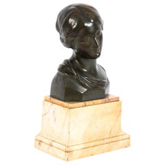 Antique Bronze Head Bust of a Lady After Raphael Signed H. Luppens & Cie