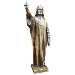 Antique Bronze Holy Heart Sculpture / Statuette of Christ Holding a Scepter