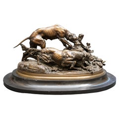 Antique Bronze Hunting Group