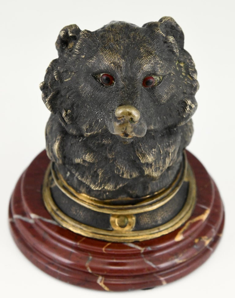 Antique Bronze Inkwell with Bear's Head, France, ca. 1880 For Sale 5