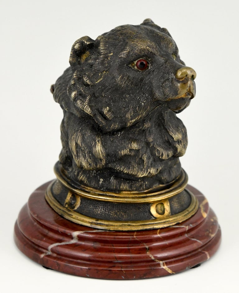 Art Nouveau Antique Bronze Inkwell with Bear's Head, France, ca. 1880 For Sale