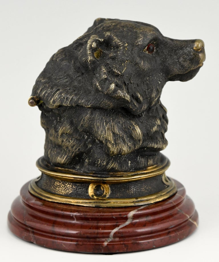 French Antique Bronze Inkwell with Bear's Head, France, ca. 1880 For Sale